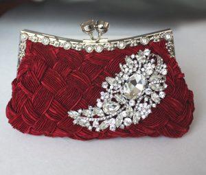 Burgundy Bridal Clutch - satin purse w/ Swarovski big Crystal feather brooch